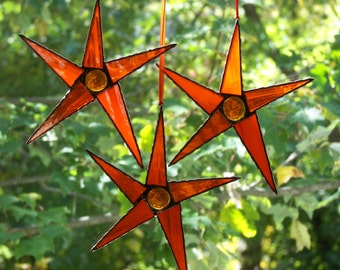 Set of 3 Stained Glass Orange Stars, Stained Glass 5 point Star Orange, Orange Star Suncatcher, Orange Star Ornamnet