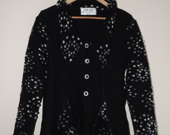 Vintage ZEP ZEP Germany BLACK and gray/ white Wool noded cardigan/ blazer with buttons