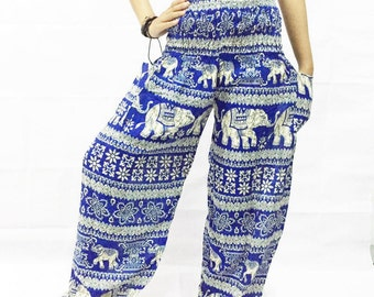 Blue Elephant pants /Hippies pants /Boho pants/Bohemain Pants/Women Trouser Pants Yoga Pants Baggy Pants/Aladdin Pants/Harem pants.