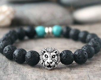 Lion bracelet Men bracelets Black bracelet Husband gifts for dad Beaded bracelet Stacking bracelet Stretch bracelet for men Elastic bracelet