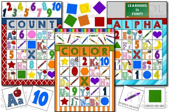 Alphabet Numbers Colors And Shapes Bingo 30 Printable Cards