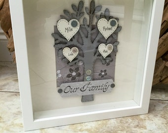 Handmade Personalised Family Tree Picture Box frame