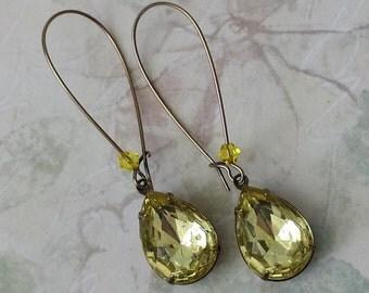 Yellow Teardrop Earrings - Retro Earrings - Vintage Rhinestone Earrings - Bridesmaid Jewelry Gifts - Jewelry Gifts - Victorian Earrings