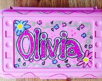 Personalized pencil box, girl pencil box, school supply box, girls art box, school art box, back to school art box, name art box,
