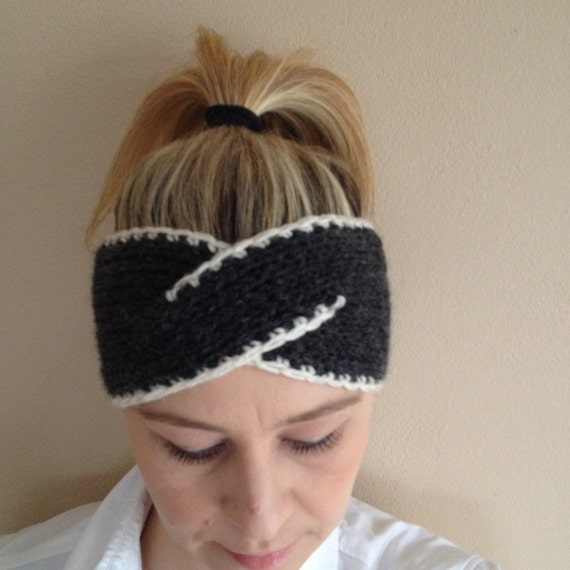 Items similar to Knit Cable Headband Ear Warmer Wide Cable ...