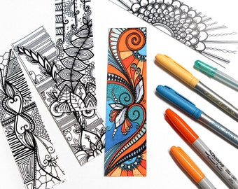 Set of 5 bookmarks, bookmarks, colouring! (Free shipping to the Canada)