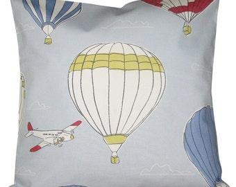 John Lewis Sky High Hot Air Balloon Blue Cushion Cover