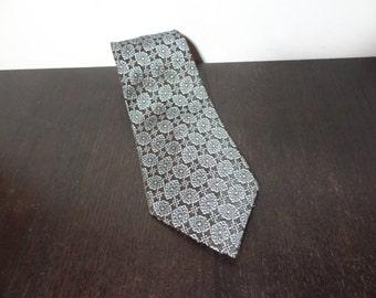 Vintage Men's Acetate Rayon Brown Necktie with Turquoise Design