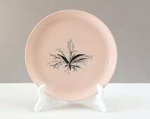 """Vintage Mid-Century Dinner Plate- Pink Abstract Flower """"Carnation"""" Crooksville China Plate- USA 1950s"""