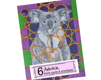 Koala Note Cards - Bear Stationery - Australian Cards - Blank Greeting Cards - Wild Animal Cards - Thank You Cards - Animal Lover Gift