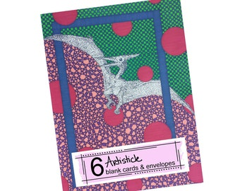 Pterodactyl Cards - Dinosaur Notes - Dino Stationery - Blank Greeting Cards - Wild Animal Cards - Thank You Notes - Boys Stationery