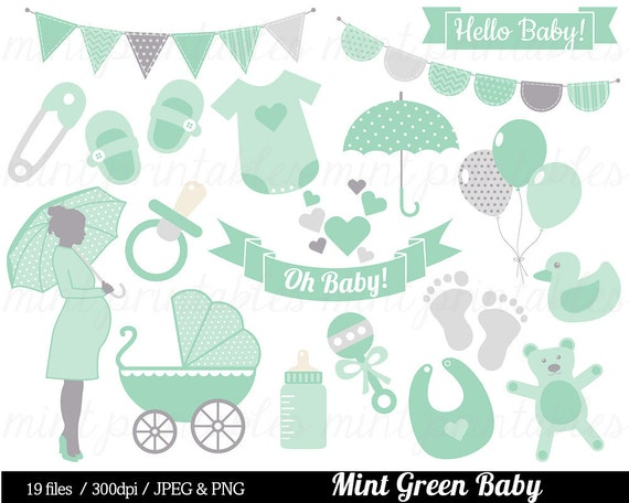Baby Shower Clipart, Mint Green Baby Clipart, Baby Clip Art, Boy Girl  Gender Neutral, Bunting   Commercial U0026 Personal   BUY 2 GET 1 FREE! From ...