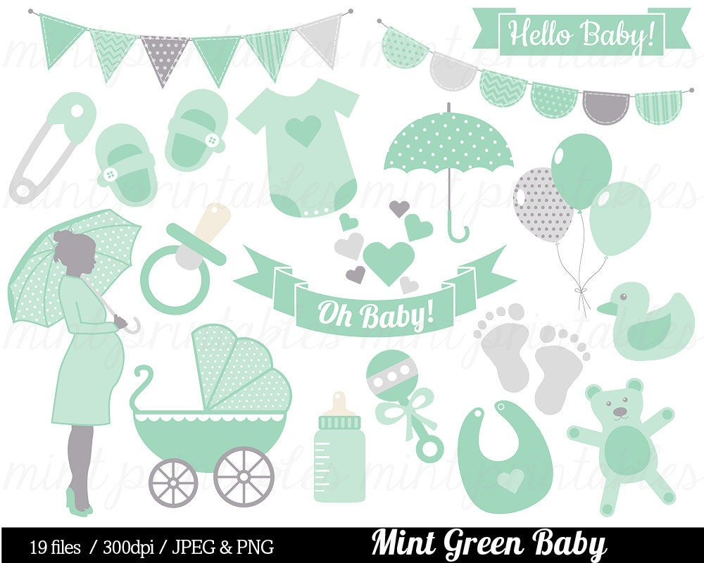 baby shower clipart mint green baby clipart baby clip art