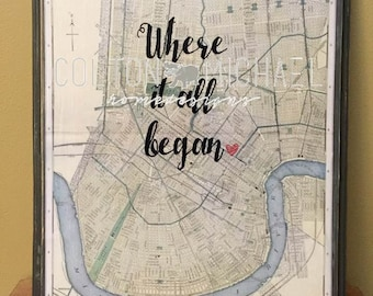 Where it  all Began Map- Engagement/ Wedding gift- Wood Mounted Print- Customizable for location