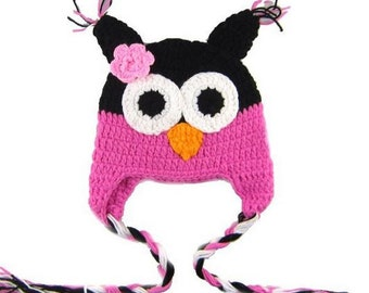 Black Pink Owl Crochet Kids Hat