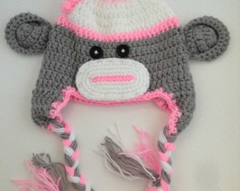 Girl Sock Monkey Crochet Kids Hat