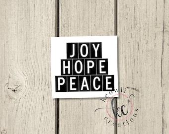 Joy Hope Peace Vinyl Decal