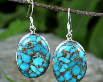 Blue Copper Turquoise Earring, Blue Copper Turquoise, Dangle Earring, 925 Silver Earring, Fine Silver Earring, Turquoise Earring, Jewellery