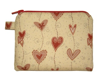 Red Heartstring Small Coin Purse - Padded Zipper Pouch - Heart Purse