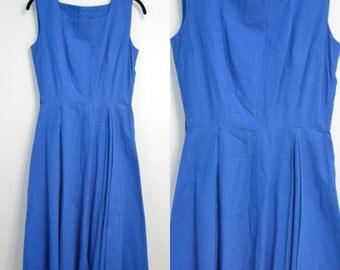 Beautiful Vintage vtg 1960s 60s Blue Side Zipper Day Dress Sleeveless Sundress Heavy Linen Knee Length Small S X-Small XS