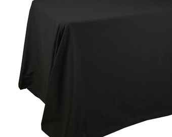90 X 156 Inches Black Rectangular Tablecloths With Rounded Corners, Black  Table Cloths For 8