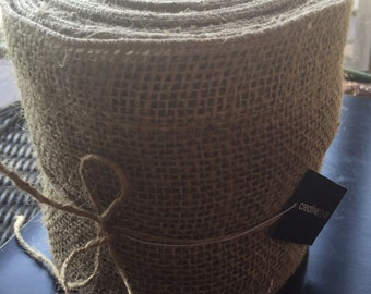 "5-1/2"" X 10yds Natural Burlap Ribbon- Finished Edge"