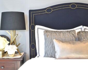 Upholstered Headboard, King, Queen, Full, Twin Size, Navy Blue Linen Fabric, Antique Brass Nailhead Trim w/ Circle Design, Camelback Shape