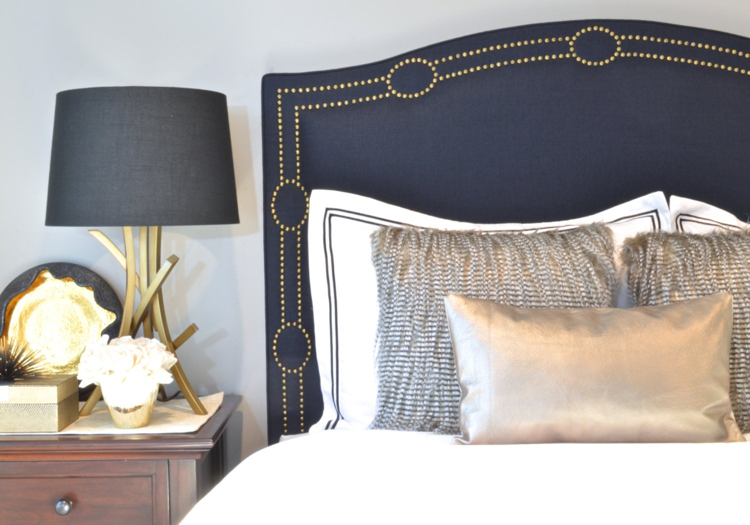 Upholstered Headboard King Queen Full Twin Size Navy Blue