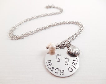 """Beach Girl Necklace - """"Beach Girl"""" Metal Stamped Aluminum Charm Necklace"""