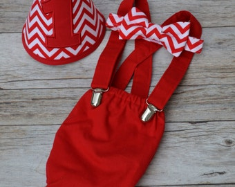 Boy Cake Smash Outfit, Red and Chevron, Boy Cake Smash, Boy 1st Birthday Set, 1st Birthday, 1st Birthday, Christmas Outfit