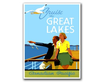 Great lakes poster | Etsy