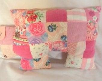 Vintage Fabric Pink Piggy Decorative Pillow