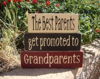 Grandparents Wood Stacker Blocks-The best Parents get promoted to Grandparents- block set