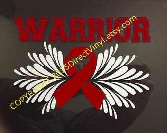 Burgundy Awareness Ribbon Warrior Vinyl Window Decal (Brain Aneurysm, Multiple Myeloma, Sickle Cell Anemia, Williams Sydrome)