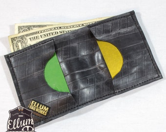 Recycled Bike Inner Tube Bi-Fold Wallet, Black stitching