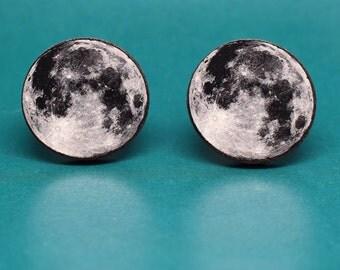 Moon Cufflinks - Full moon wooden cuflinks - Birch wood - Base metal
