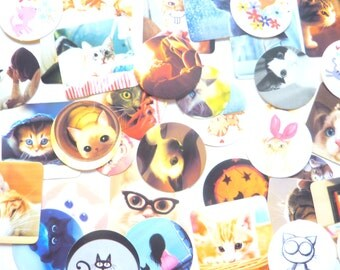 Set of 40 Super Cute Cat Stickers for Scrapbooking and Planners