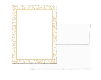 24 PRINTED Note Cards with Envelopes, Champagne Lace