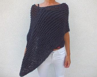 Charcoal gray Poncho Handknit wool poncho women poncho loose knit poncho short poncho Boho inspired Asymetrical
