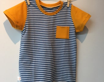 Striped boys t shirt with yellow short sleeves, eco, 104 mt