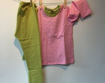 Light pink dark pink striped with solid green set, mt 110