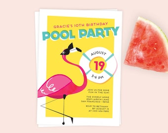 Flamingo Pool Party Invitation | Flamingo Party | Birthday Party Printable or Evite