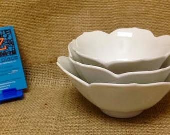 3 White Vintage Lotus Bowls