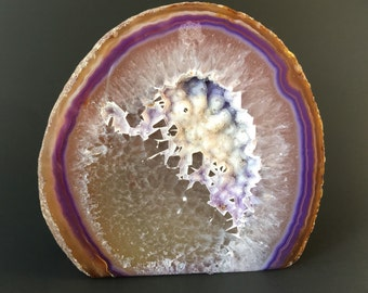 Agate Paper Weigh- Dyed Agate Geode- Agate Display Geode- Home Decor- Agate Geode- Drusy Agate-Purple Agate Geode