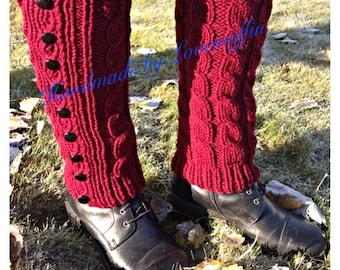RTS handknitted bordeax legwarmers. Beautiful braided pattern with buttons on the side