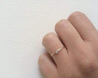 dainty engagement ring 05 ct solid 14k gold dainty diamond ring - Dainty Wedding Rings