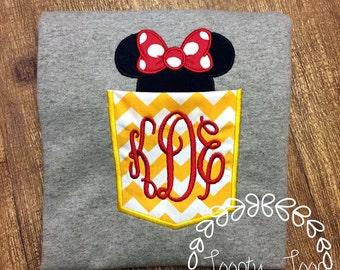 Family Vacation Shirts Monogram Chevron Pocket/Initials Shirt Mouse Ears and Bow