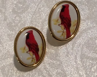 Red Bird Cardinal Drop Pierced Earrings Jewelry Vintage Costume Jewelry