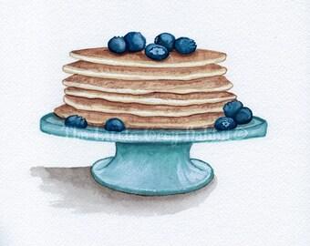 Pancake Print Watercolor Print Kitchen Decor Blueberry Print Food Art Kitchen