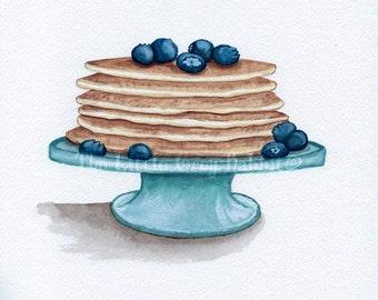 Pancake Print, Watercolor Print, Kitchen Decor, Blueberry Print, Food Art, Kitchen Art, Blue And White Decor, Breakfast Print